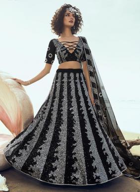 Party Wear Black Net Sequins Work Lehenga Choli