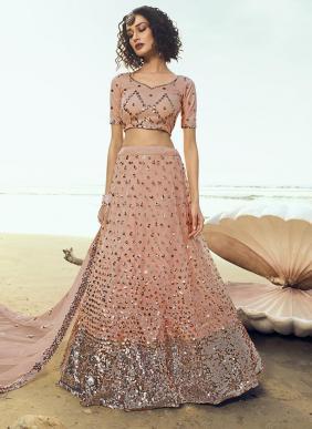 Party Wear Peach Net Sequins Work Lehenga Choli