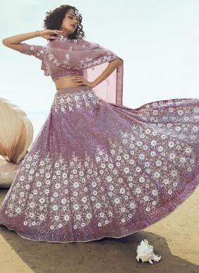 Party Wear Pink Net Sequins Work Lehenga Choli