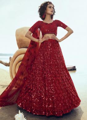 Party Wear Red Net Sequins Work Lehenga Choli