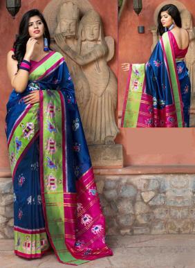 Festival Wear Blue Patola Silk Weaving Saree