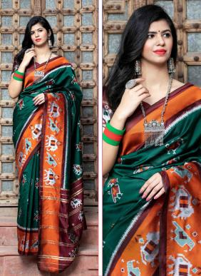 Festival Wear Green Patola Silk Weaving Saree