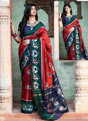 Festival Wear Red Patola Silk Weaving Saree
