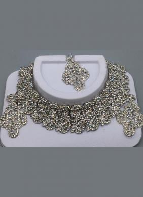 Dainty Rhinestone Party Wear Siver Plated Neckale Set