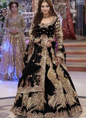 Bridal Wear Black Dori Work Velvet Lehenga Choli