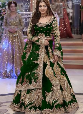Bridal Wear Green Dori Work Velvet Lehenga Choli