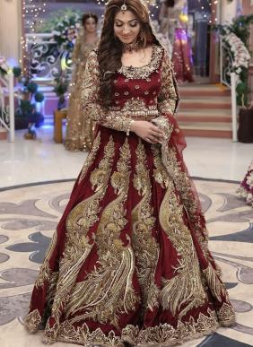 Bridal Wear Maroon Dori Work Velvet Lehenga Choli