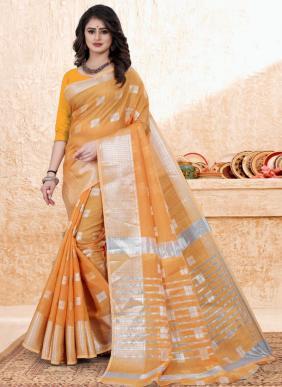 Casual Wear Orange Zari Work Cotton Saree