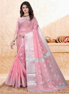 Casual Wear Pink Zari Work Cotton Saree