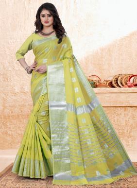 Casual Wear Sea Green Zari Work Cotton Saree