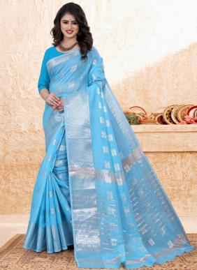Casual Wear Sky Blue Zari Work Cotton Saree