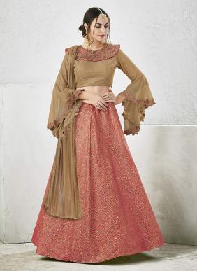 Bridal Wear Peach Jacqaurd Zari Embroidery Work Lehenga Choli