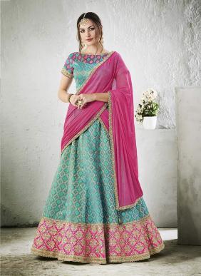 Bridal Wear Sky Blue Jacqaurd Zari Embroidery Work Lehenga Choli