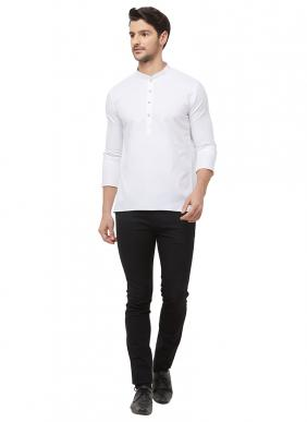 Casual Wear White Cotton Plain Short Kurta