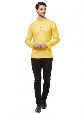 Casual Wear Yellow Cotton Plain Short Kurta