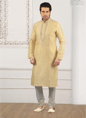 Festival Wear Beige Banarasi Silk Embroidery Work Kurta Pajama