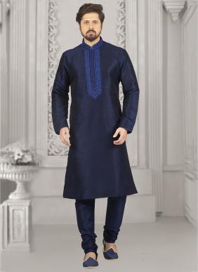 Festival Wear Blue Banarasi Silk Embroidery Work Kurta Pajama