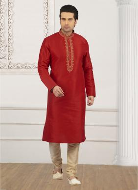Festival Wear Red Banarasi Silk Embroidery Work Kurta Pajama
