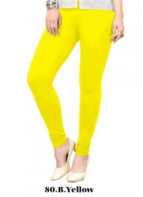 Office Wear B. Yellow Cotton Plain Leggins