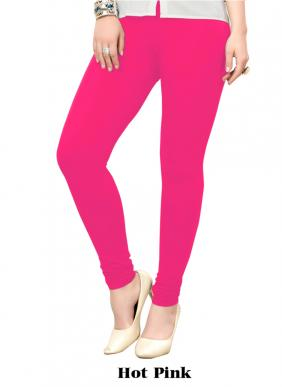 Office Wear Hot Pink Cotton Plain Leggins