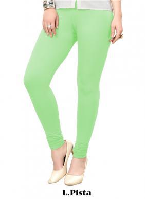 Office Wear Light Pista Green Cotton Plain Leggins