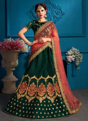 Party Wear Green Satin Sequins Work Lehenga Choli