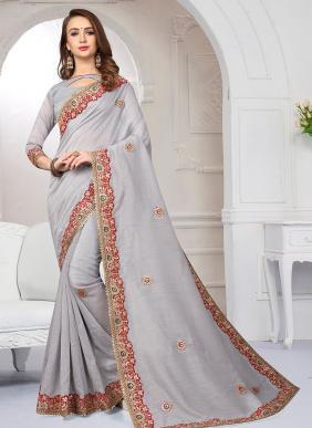 Party Wear Grey Cotton Silk Gota Work Saree