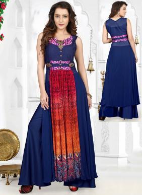 Party Wear Neavy Blue Georgette Hand Work Salwar Kameez
