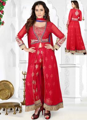 Party Wear Red Georgette Hand Work Salwar Kameez