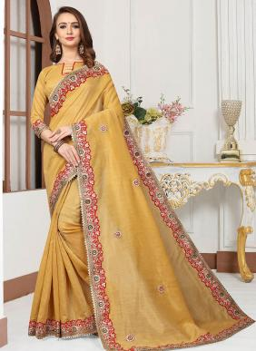Party Wear Yellow Cotton Silk Gota Work Saree
