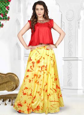 Party Wear Yellow Crepe Silk Hand Work Salwar Kameez