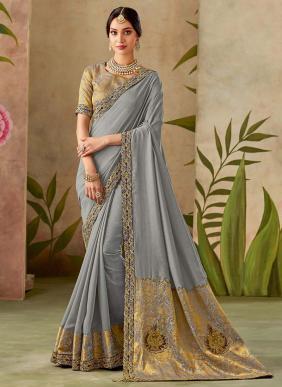 Reception Wear Grey Silk Thread Work Saree
