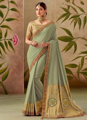 Reception Wear Light Green Silk Thread Work Saree