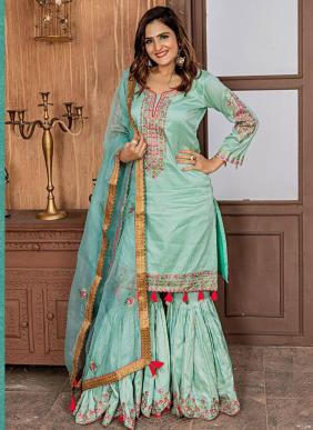 Wedding Wear Aqua Fancy Embroidery Work Sharara Suit