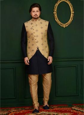 Wedding Wear Black Banarasi Silk Embroidery Work Sherwani Style