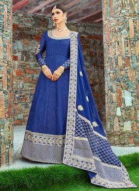 Wedding Wear Blue Art Silk Embroidery Work Lehenga Choli