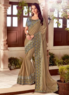 Wedding Wear Brown Silk Embroidery Work Saree