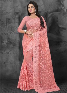 Wedding Wear Gajri Net Embroidery Work Saree