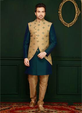 Wedding Wear Green Jacqaurd Embroidery Work Sherwani Style