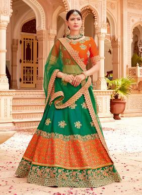 Wedding Wear Green Jacqaurd Heavy Embroidery Work Lehenga Choli