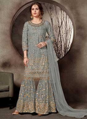 Wedding Wear Grey Net Heavy Embroidery Work Sharara Suit