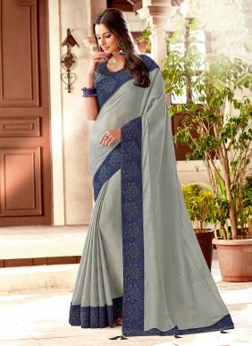 Wedding Wear Grey Silk Embroidery Work Saree