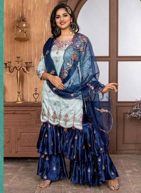 Wedding Wear Ice Blue Fancy Embroidery Work Sharara Suit