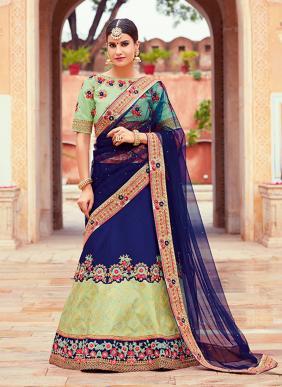 Wedding Wear Navy Blue Jacqaurd Heavy Embroidery Work Lehenga Choli