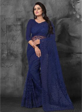 Wedding Wear Navy Blue Net Embroidery Work Saree