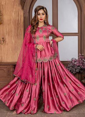 Wedding Wear Onion Pink Satin Embroidery Work Sharara Suit
