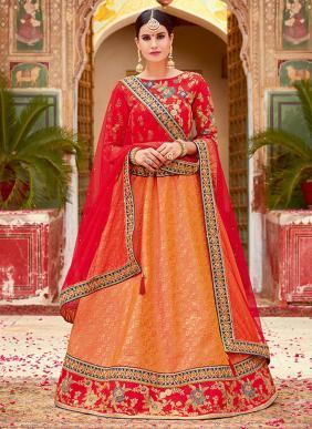 Wedding Wear Orange Jacqaurd Heavy Embroidery Work Lehenga Choli