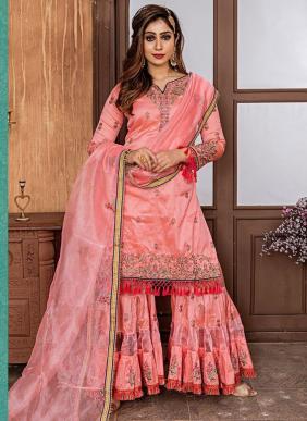 Wedding Wear Pink Fancy Embroidery Work Sharara Suit