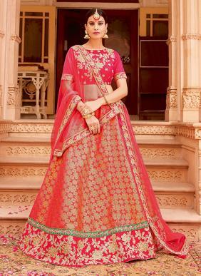 Wedding Wear Pink Jacqaurd Heavy Embroidery Work Lehenga Choli