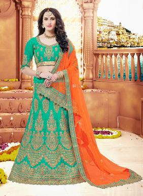 Wedding Wear Rama Green Nylon Satin Heavy Embroidery Work Lehenga Choli